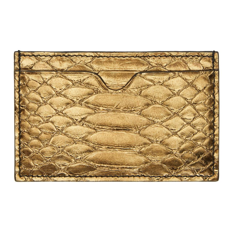 Lyst - Porte-cartes en peau de python bronze Alexander McQueen en ... dfab28826cf