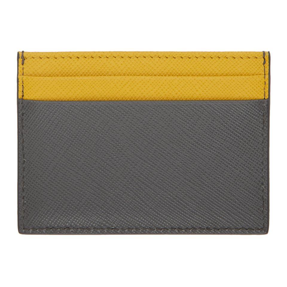 308ca83fb641 Prada Grey And Yellow Saffiano Bicolor Card Holder in Gray for Men ...