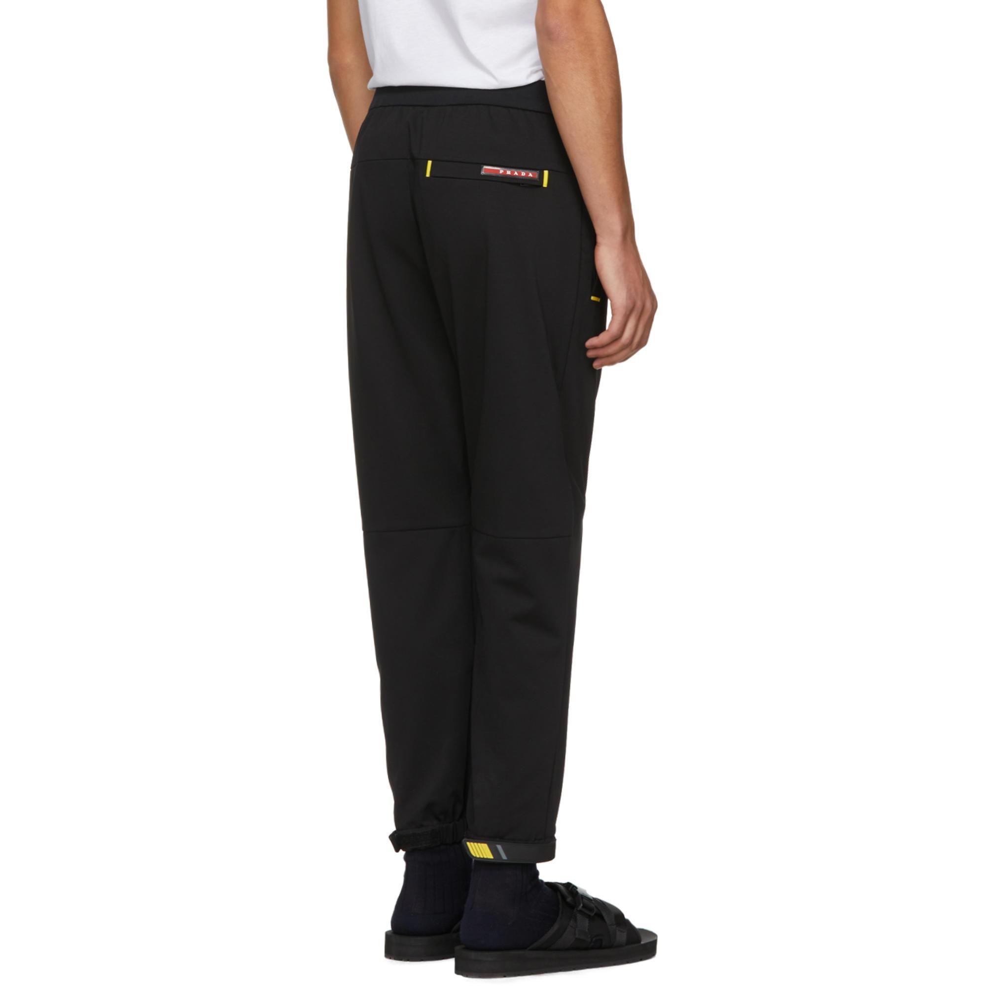 Lyst - Pantalon de survetement noir et jaune Tech Prada pour homme ... 14dda4555e5