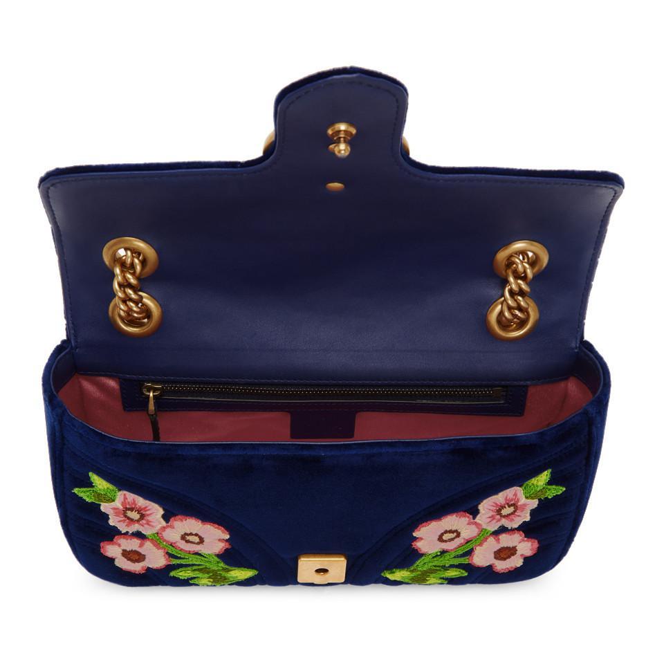 Gucci - Blue Sac en velours bleu brode Small GG Marmont 2.0 - Lyst.  Afficher en plein écran 50cab99355b