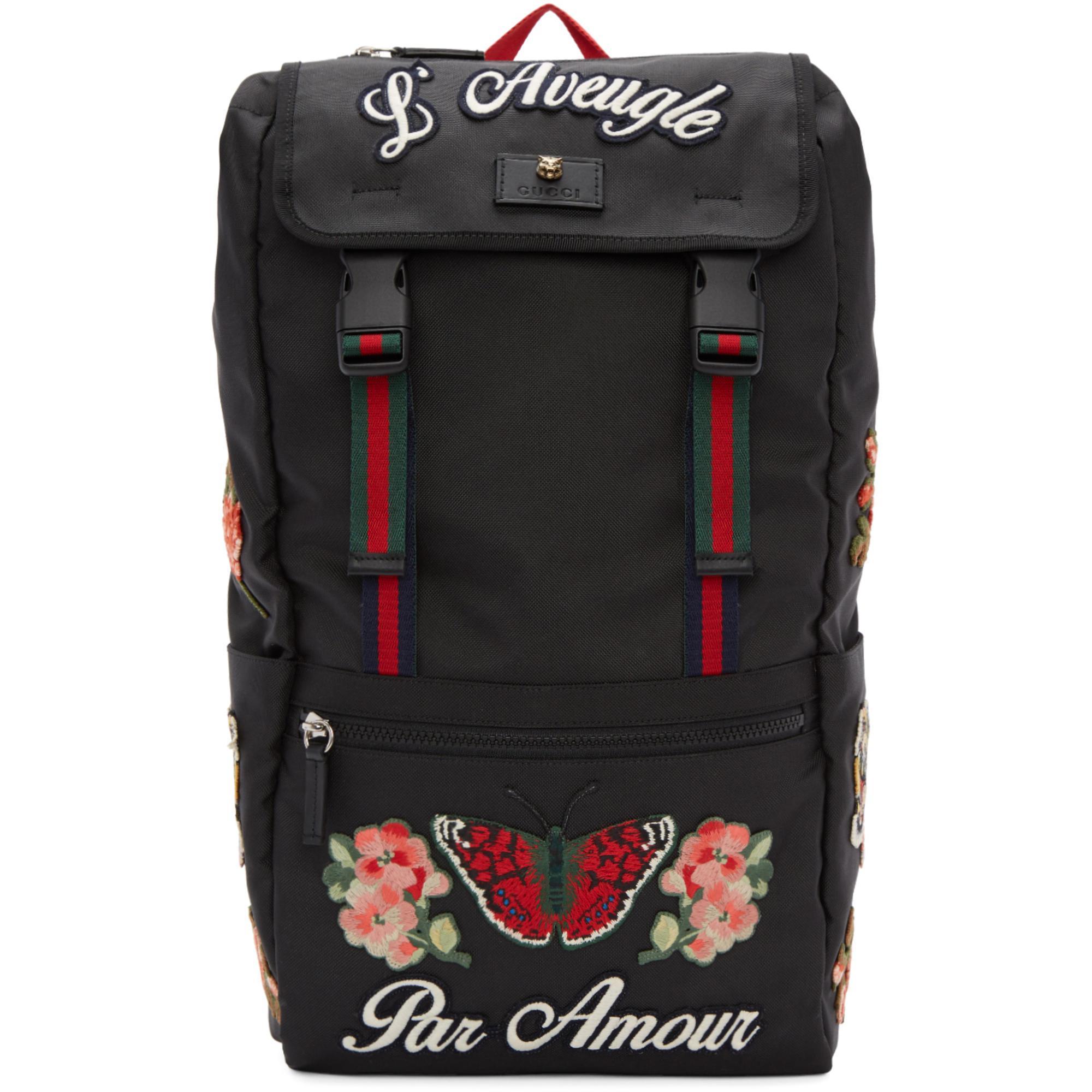 Lyst - Sac a dos noir LAveugle Par Amour Techpack Gucci pour homme ... 879f0912449
