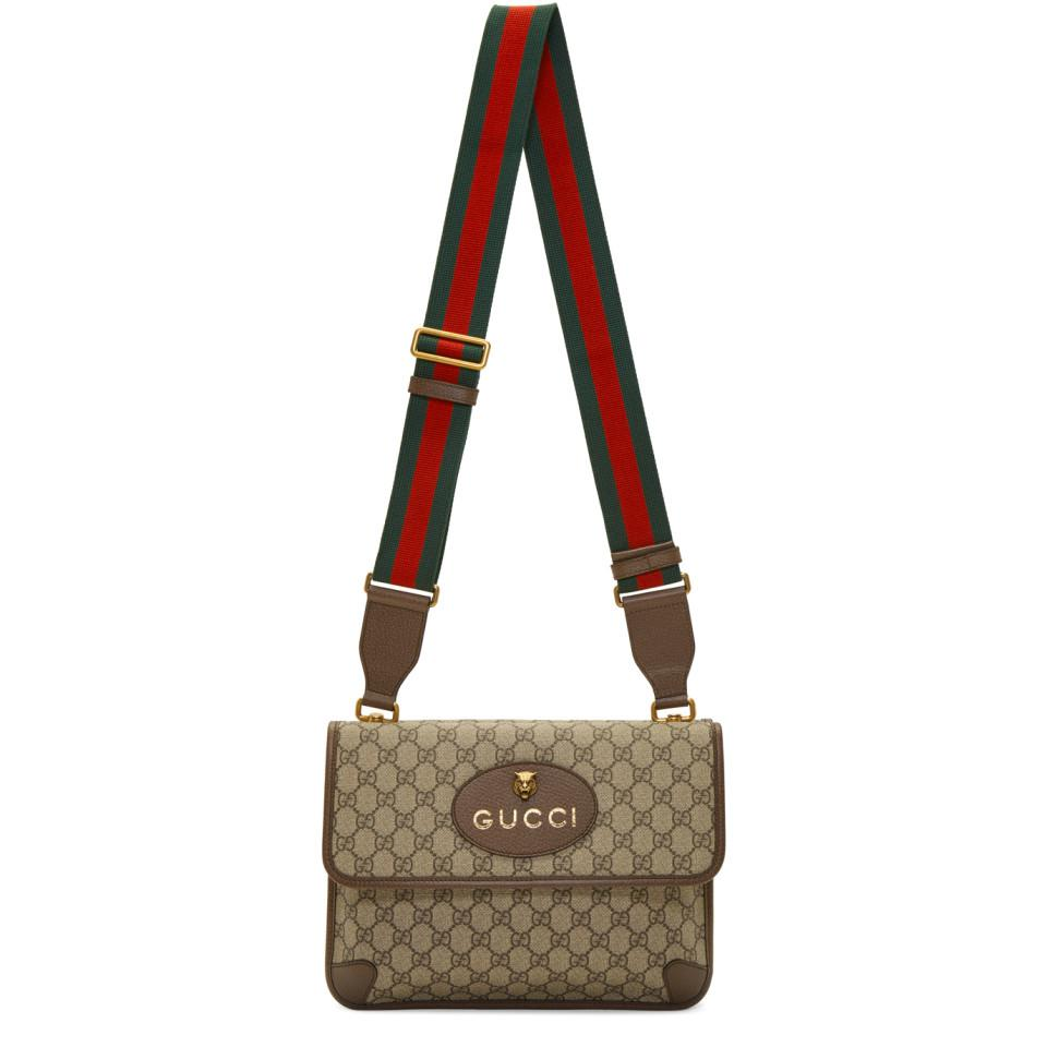 cbc781eadee481 Gucci Beige Neo Vintage Foldover Bag in Brown - Lyst