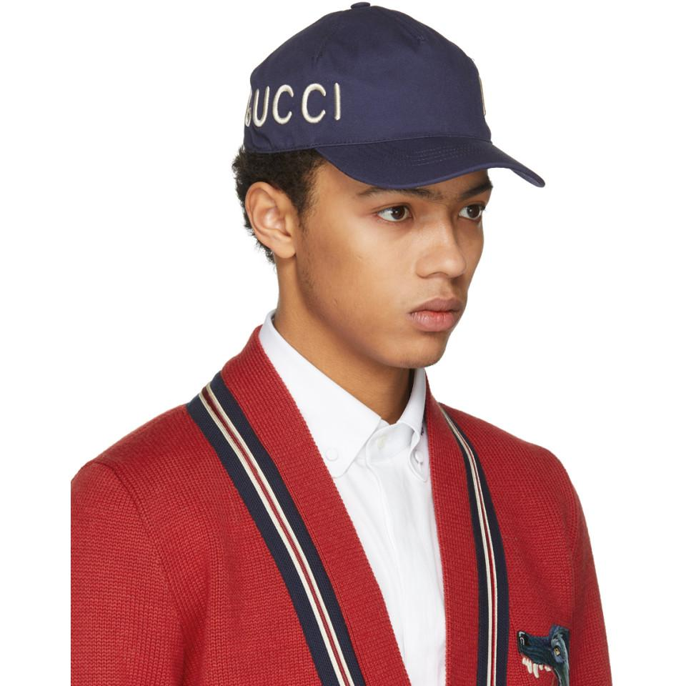 Navy Wool Loved Beanie Gucci tVWh02I