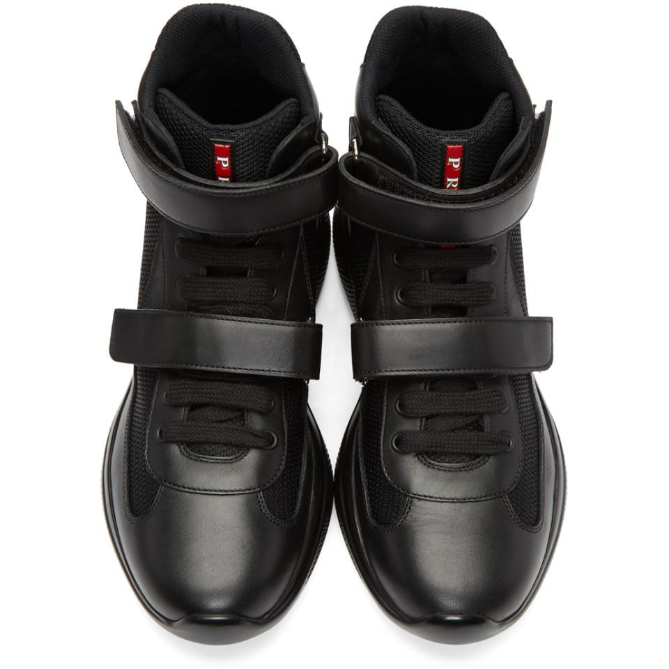 55ffb33c86 ... wholesale prada black leather and mesh velcro high top sneakers for men  lyst. view fullscreen