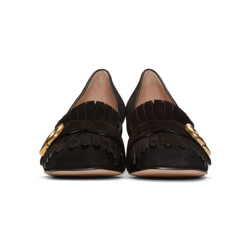 26130822564 Gucci - Black Fringe Marmont Loafer Heels - Lyst. View fullscreen