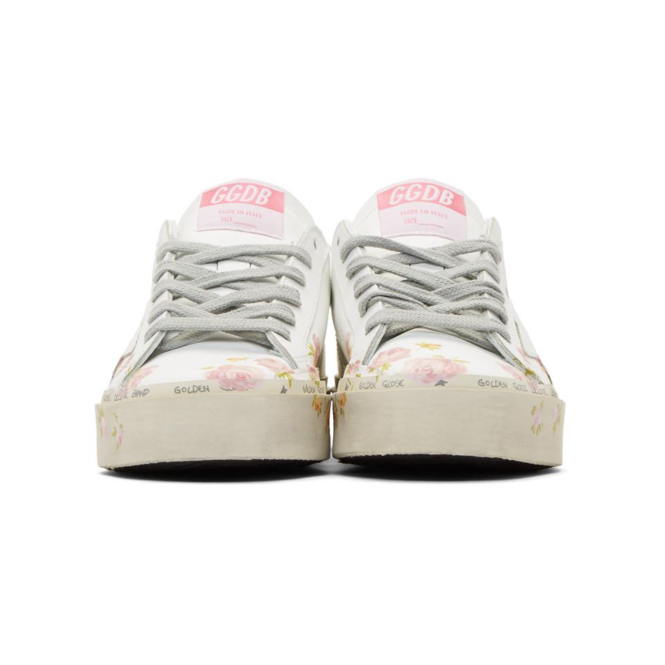 0b5fbf0c4aa8 Golden Goose Deluxe Brand - White Hi Star Flower Sneakers - Lyst. View  fullscreen
