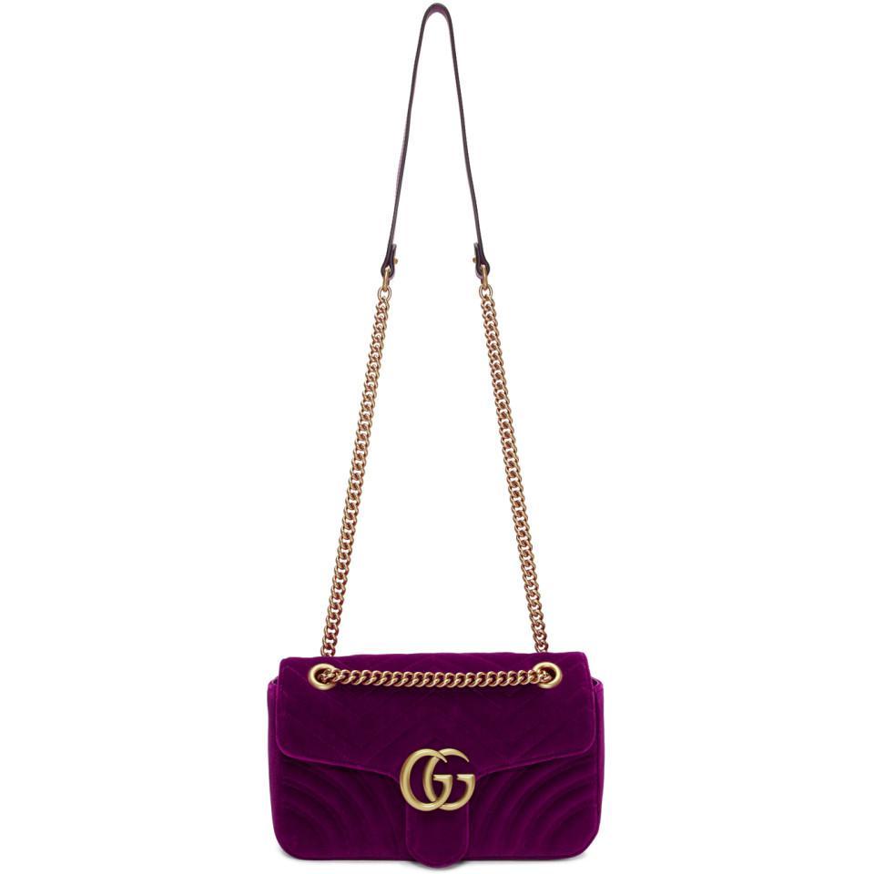 36e90eddeb1a Lyst - Sac en velours rose Small GG Marmont 2.0 Gucci