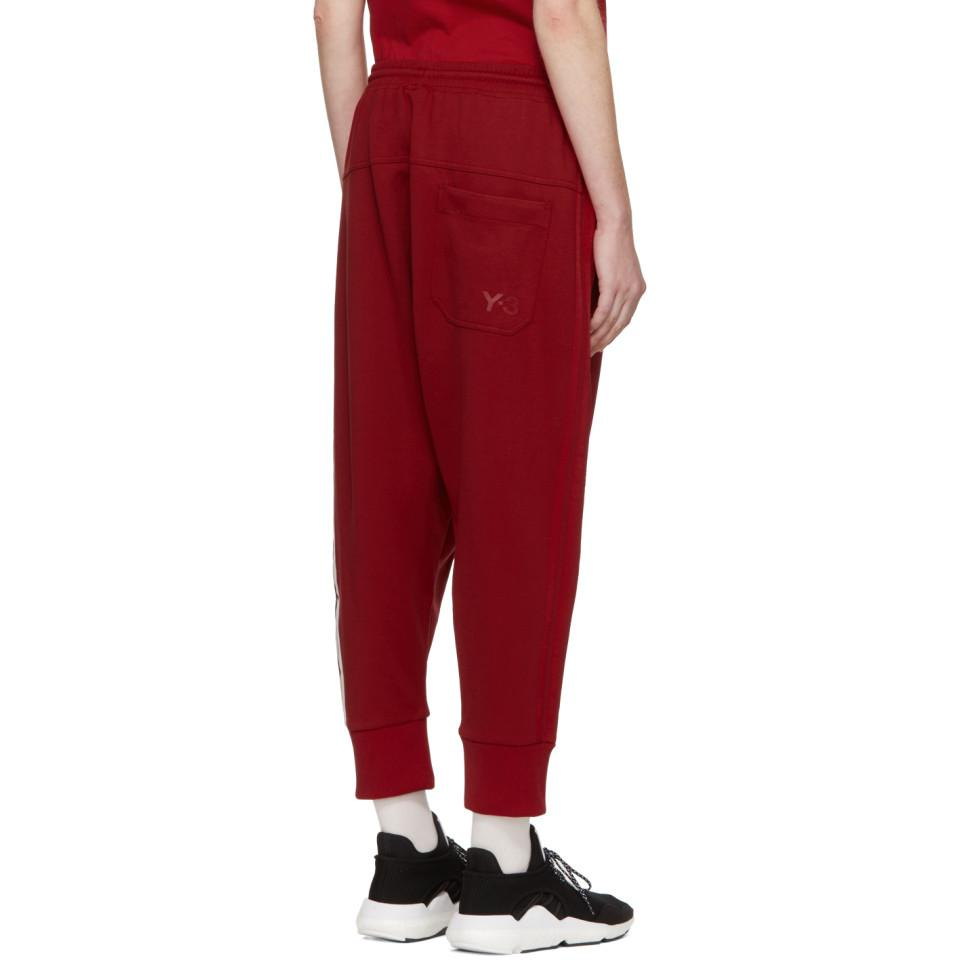 db9666cee Lyst - Y-3 Red 3-stripe Track Pants in Red