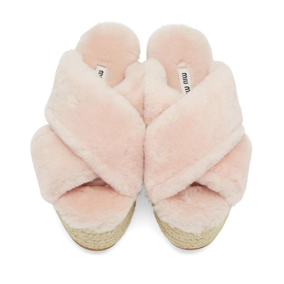 Miu Miu Pink Shearling Cross Sandals w7qYOwC32