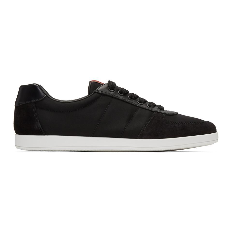 Prada Black Suede & Canvas Sneakers cNKVR8SDj