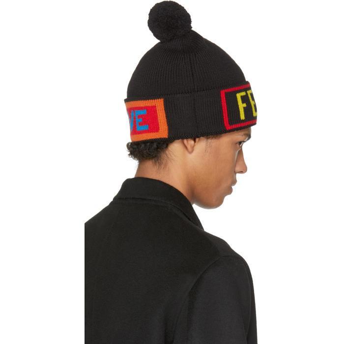 Lyst - Fendi Black  love  Pom Pom Beanie in Black for Men 14060088160