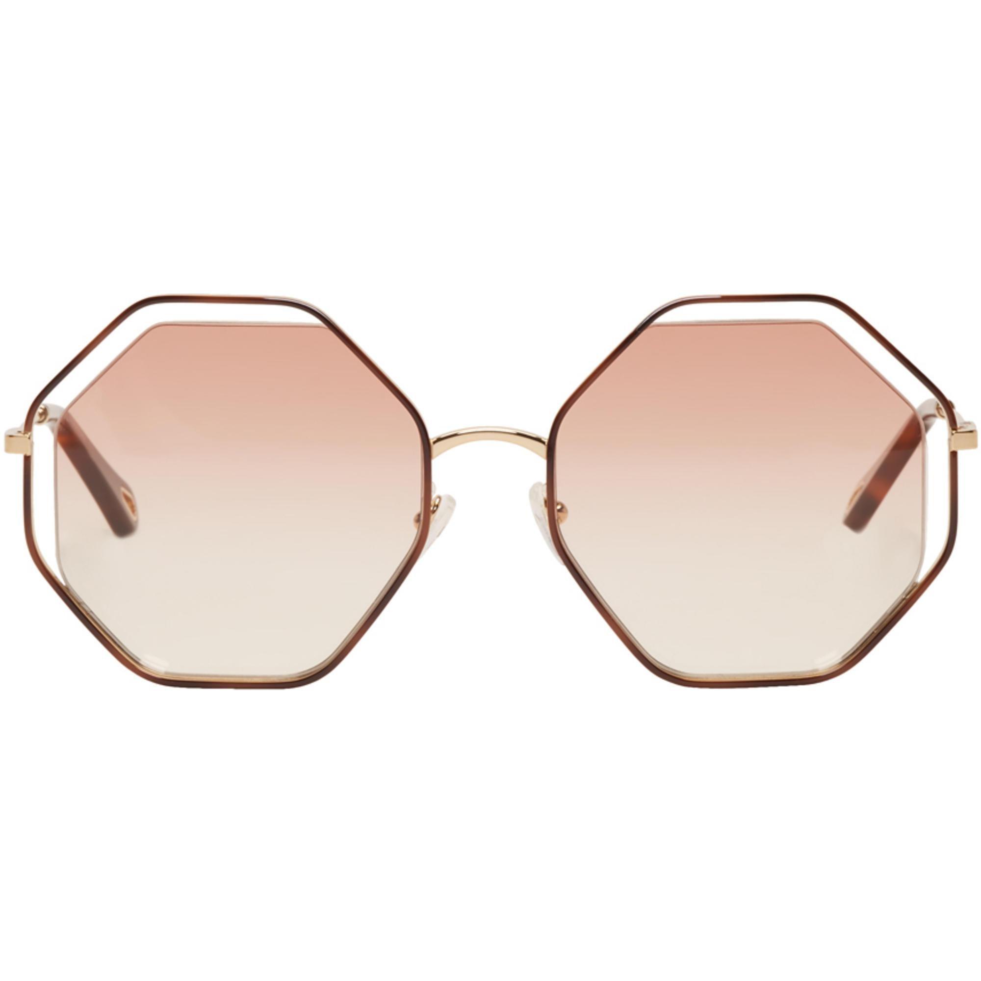 Chloé Gold & Off-White Hexagon Sunglasses fWLDqSmMP