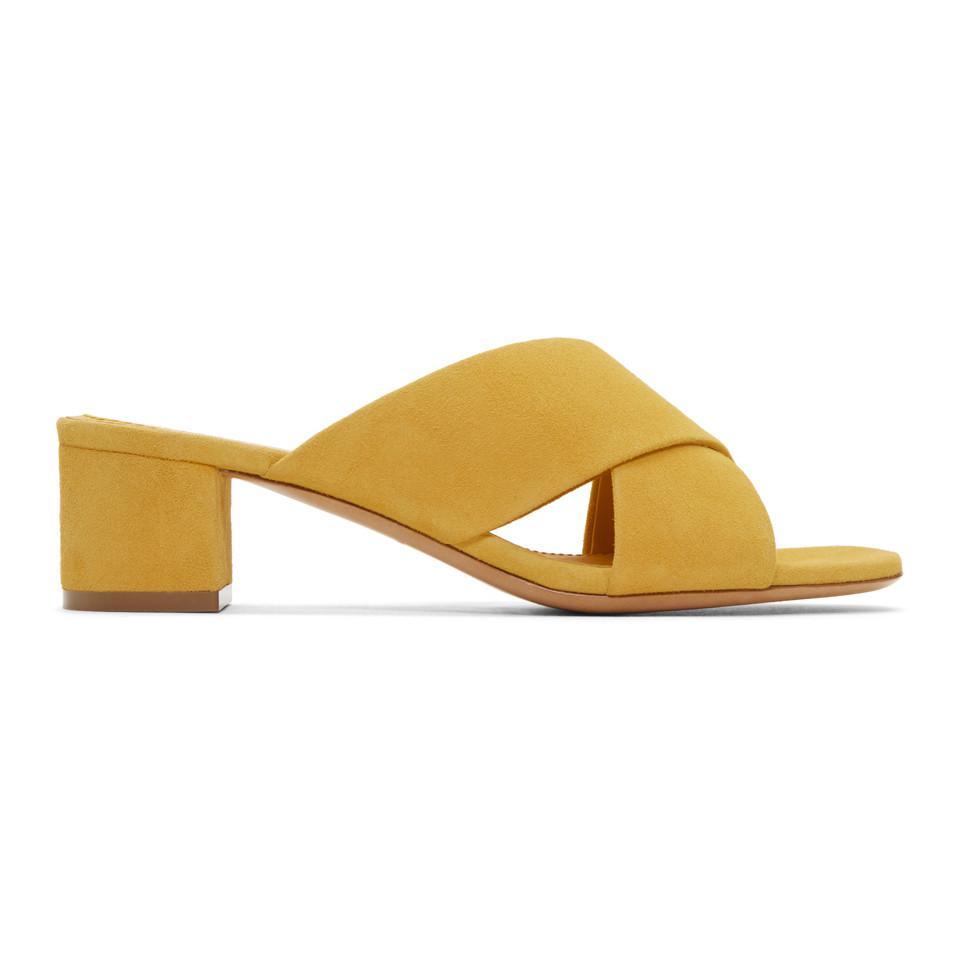 Mansur Gavriel Yellow Suede Crossover Sandals 89ws109