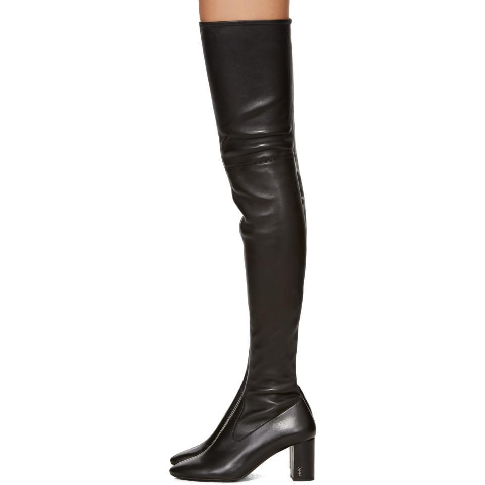313ec347223 Saint Laurent Black Loulou Over-the-knee Boots in Black - Lyst