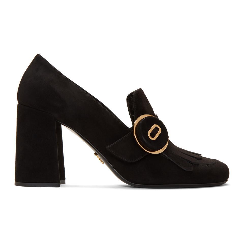 Prada Black Patent Fringed Loafer Heels inUe72NLH