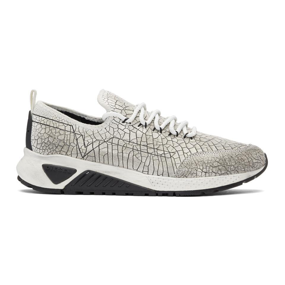 Diesel White & Black Cracked Runner Sneakers outlet with credit card best wholesale sale online lkZ3jrre
