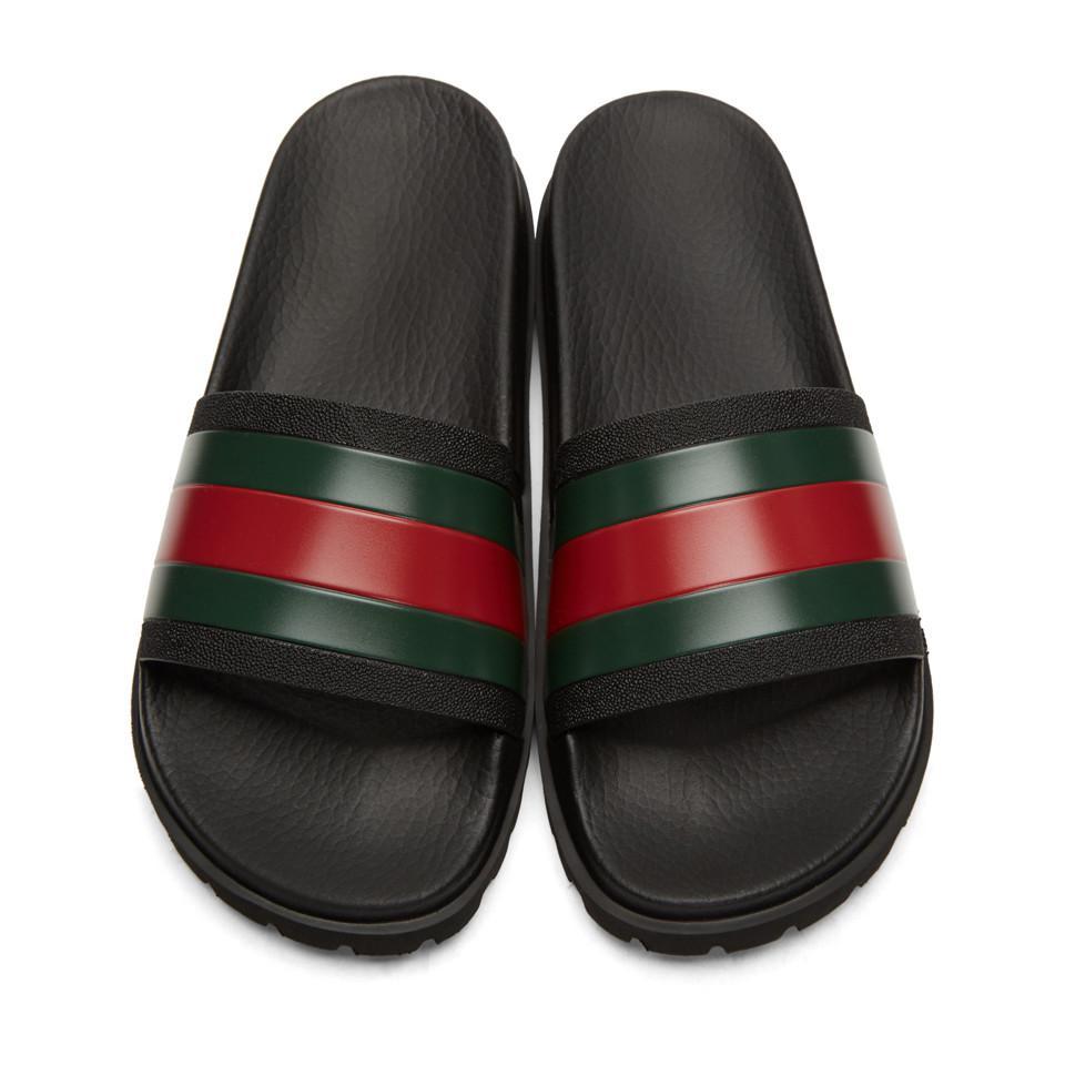 987460d16ce8f3 Lyst - Gucci Tricolor Pursuit Trek Stripes Sandals in Black for Men