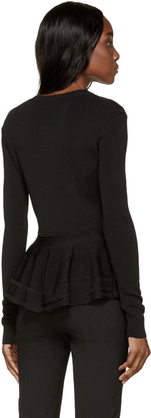 Buy Alexander McQueen Black Peplum Cardigan on allshop-eqe0tr01.cf and get free shipping & returns in US. Long sleeve rib knit wool cardigan in black. Alternating knit patterns throughout. Y-neck collar. Button closure at front. Rolled cuffs.