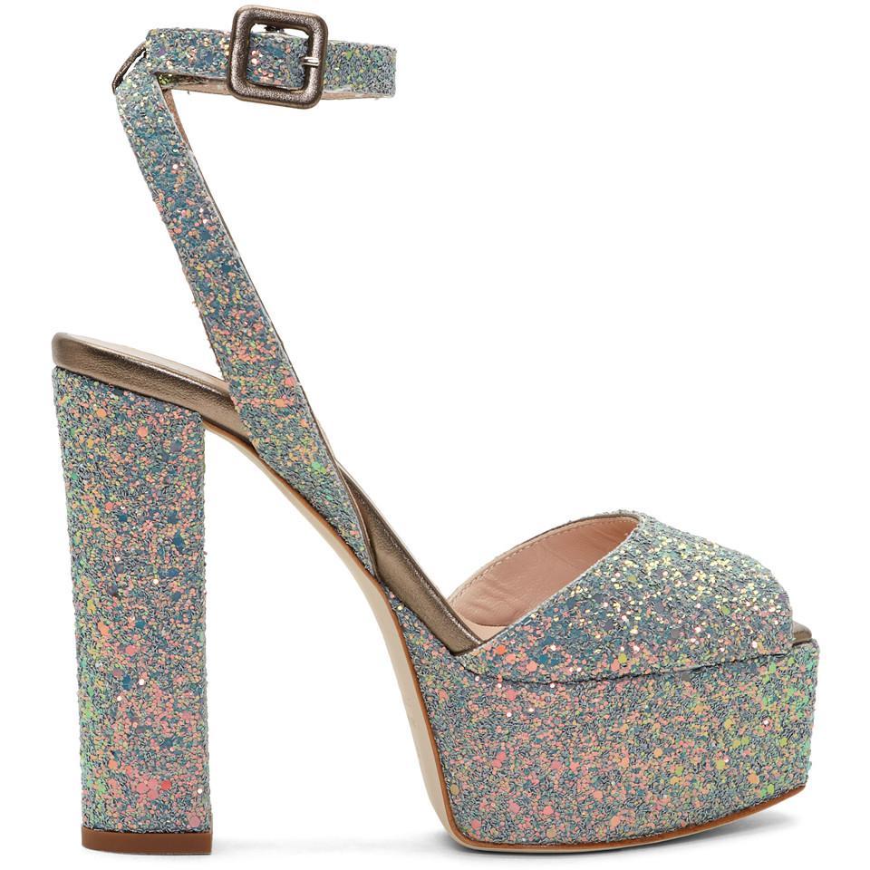 Giuseppe Zanotti Grey Glitter Lavinia Platform Sandals zt2wvl867c