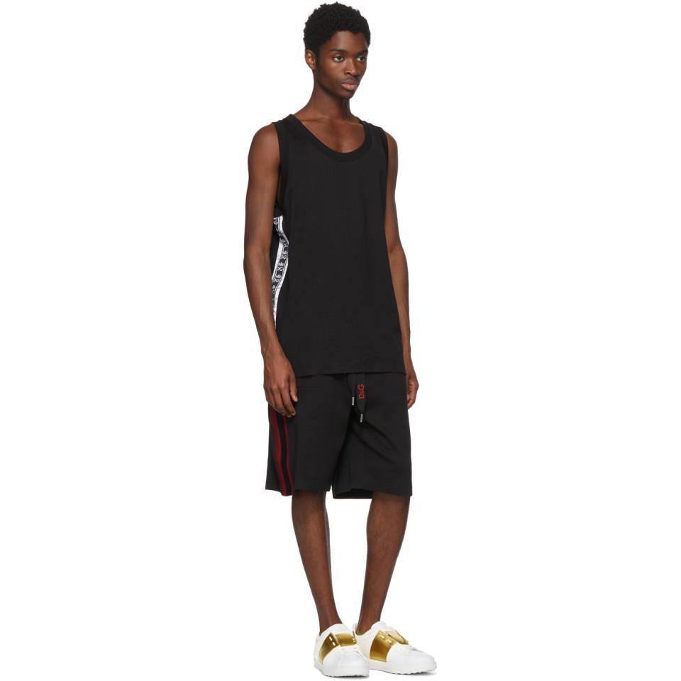 6af7318ae2aecd Lyst - Dolce   Gabbana Black Logo Tape Tank Top in Black for Men