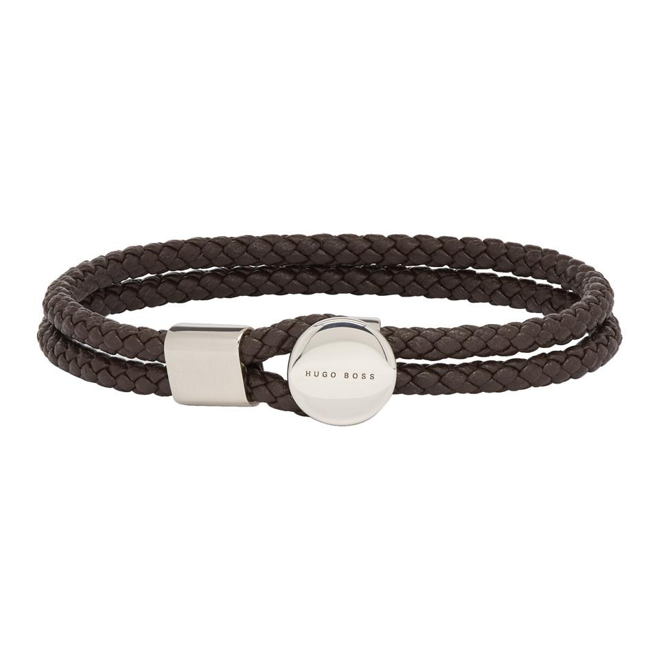 4175f7e6f553a Lyst - BOSS Brown Bertold Double Wrap Braided Bracelet in Brown for Men