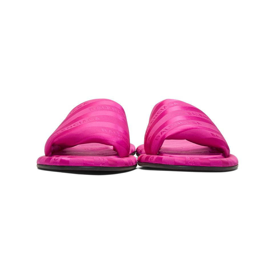 Balenciaga Pink Jacquard All Over Logo Slides TaYHk