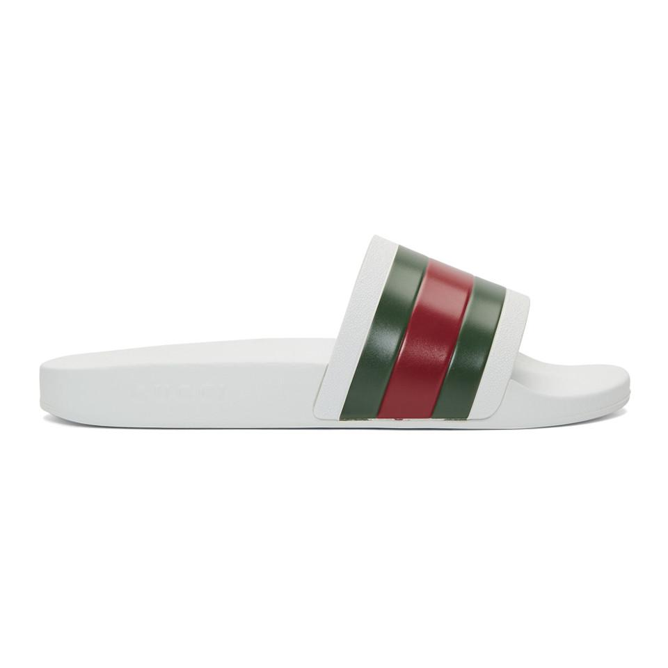 84906d3aa Gucci White Pursuit Slides in White for Men - Save 17% - Lyst