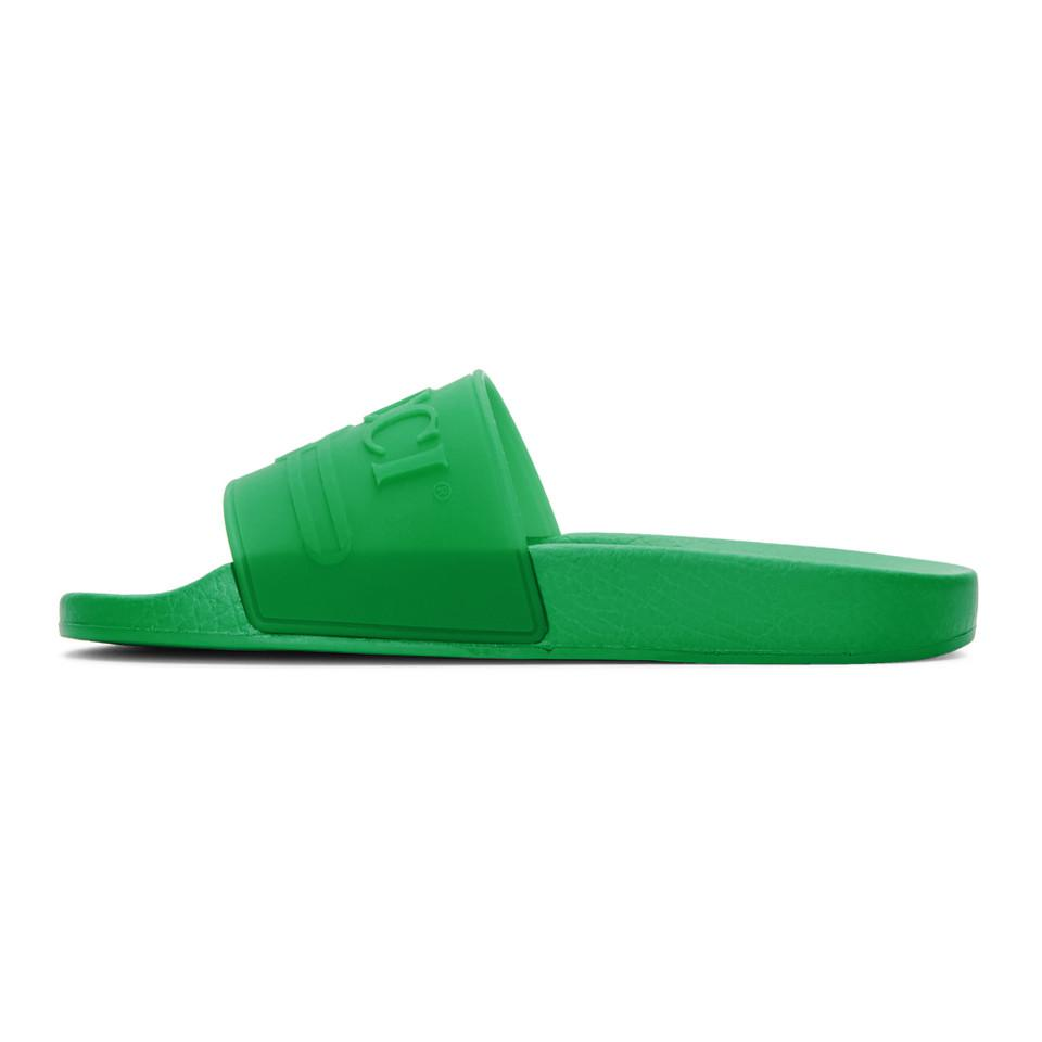 b1cb3b61d092 Gucci - Green Logo Embossed Slides - Lyst. View fullscreen