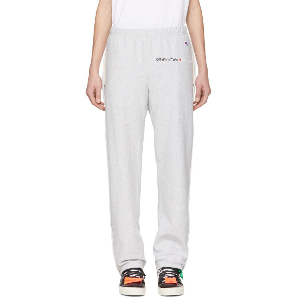 2b09f9309b4c21 Off-White c/o Virgil Abloh Grey Champion Edition Sweatpants in Gray ...