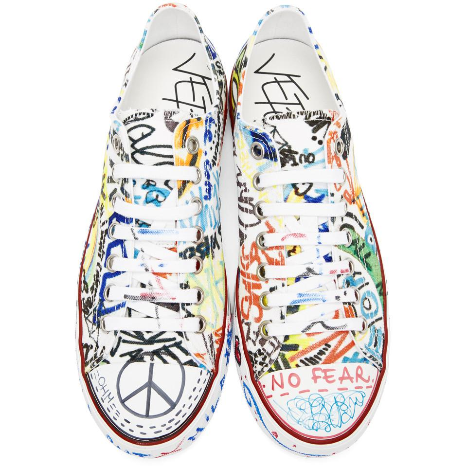 a42fd933f206 Lyst - Vetements White Graffiti Canvas Sneakers in White for Men