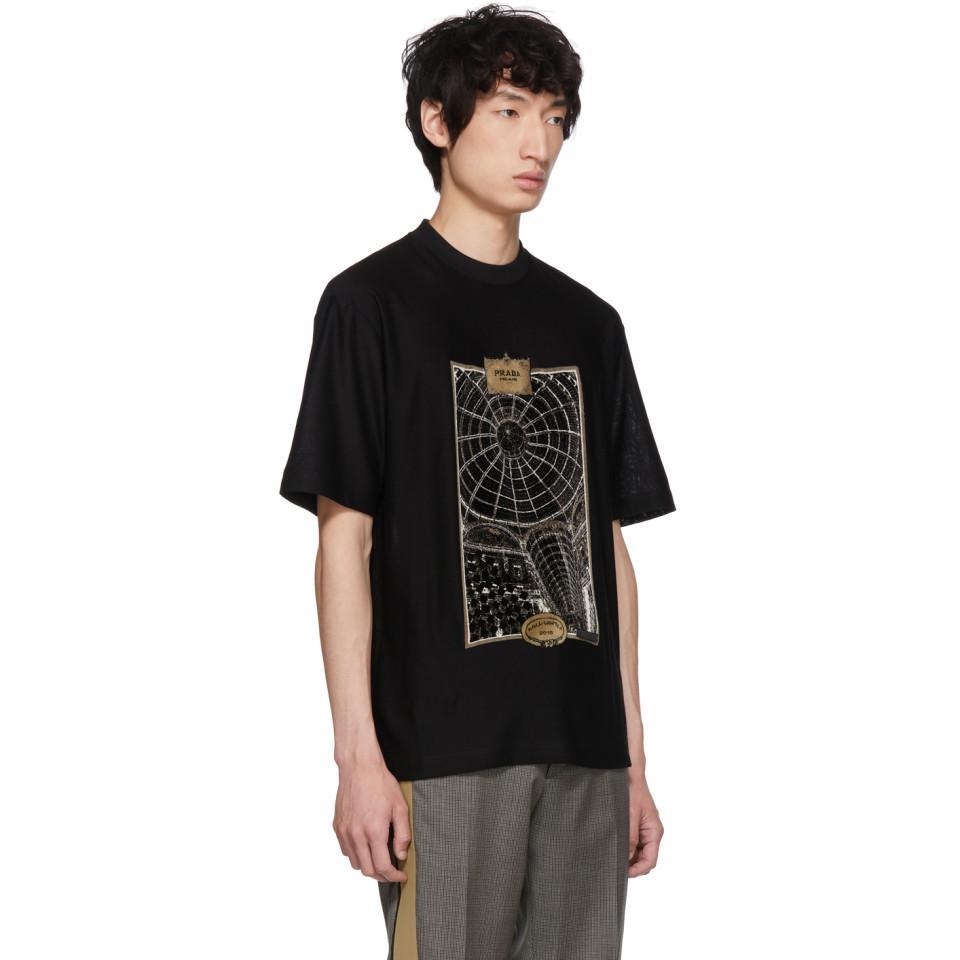 Black Jacquard Jersey T-Shirt Prada Explore Sale Online Outlet Low Shipping frm9f