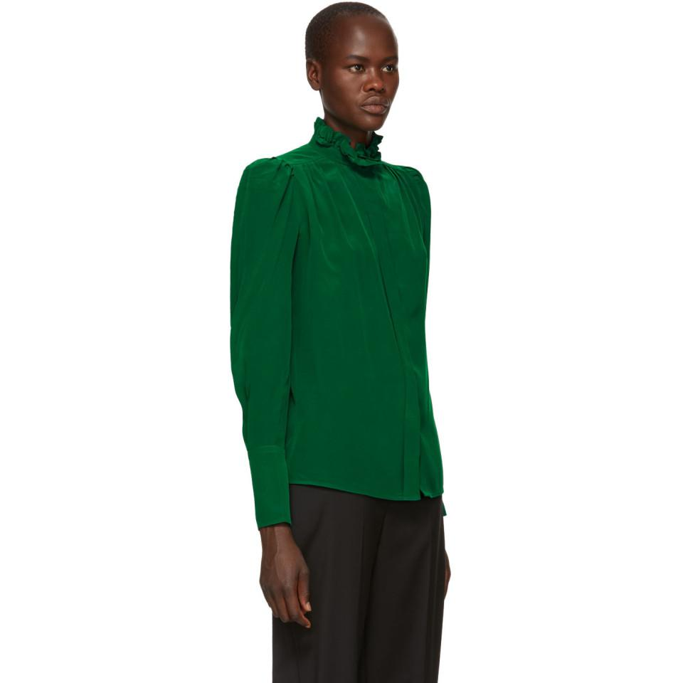 b29ea73d63ce06 Lyst - Isabel Marant Green Silk Lamia Shirt in Green