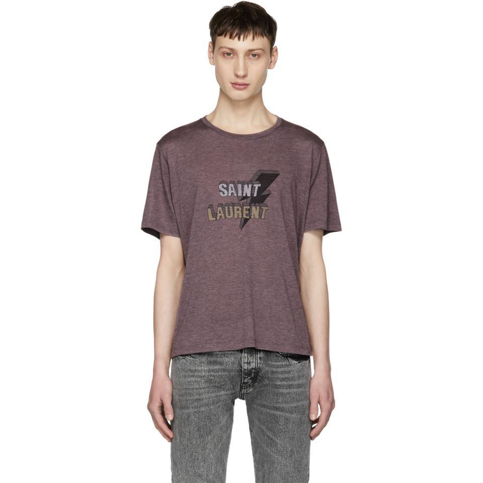 Low Cost Cheap Online Cheap Sale New Styles Purple Thunder Logo T-Shirt Saint Laurent x8hHmqbkSa