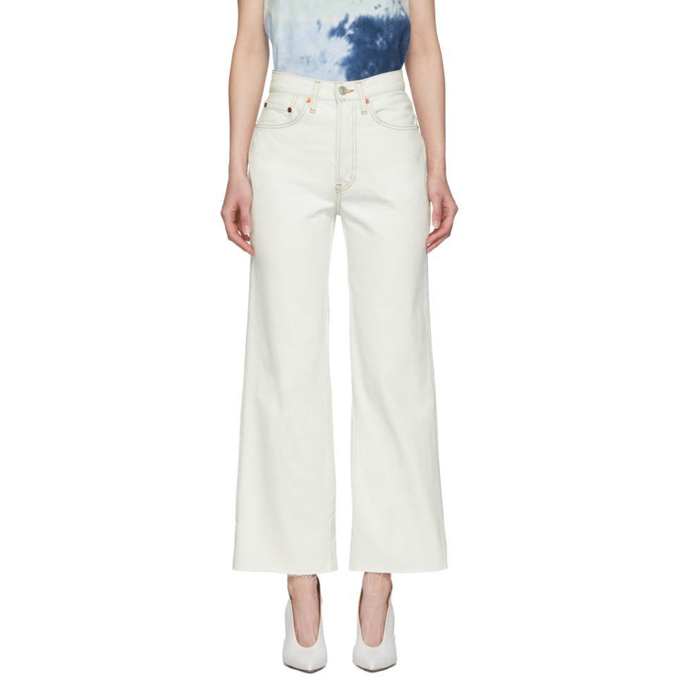 Crop Blanc En Redone Jean Wide Originals Leg Lyst Coloris Bleu TlF1K3uJc