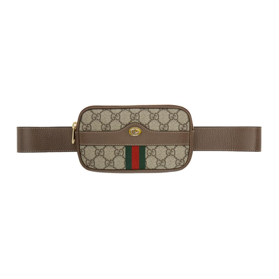 f8c931f42d7f Lyst - Gucci Brown GG Supreme Ophidia Iphone Case Belt Bag in Brown