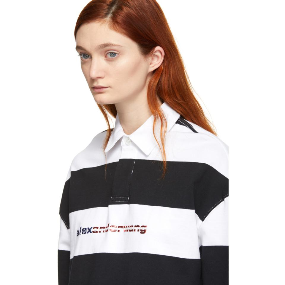 6307b16f3a5ad Alexander Wang - Black And White Stripe Cropped Rugby Polo - Lyst. View  fullscreen