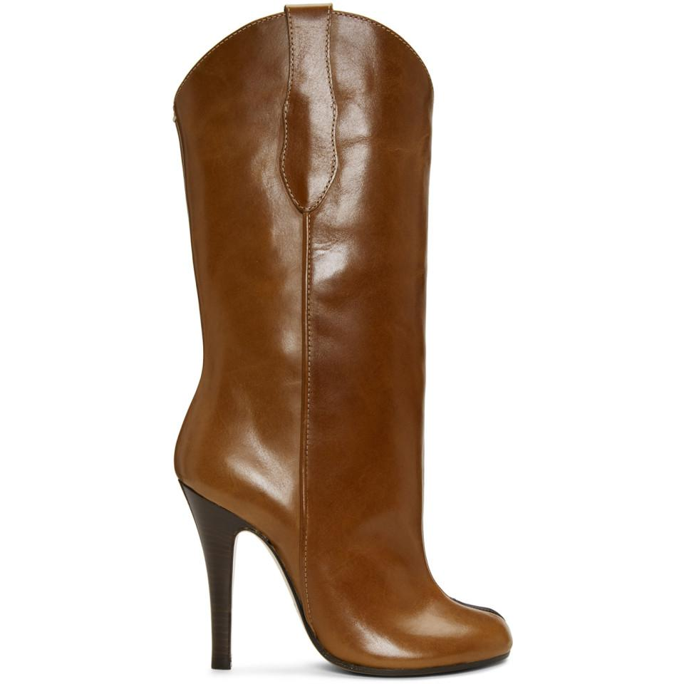 Valentino Brown Tabi Cowboy Boots