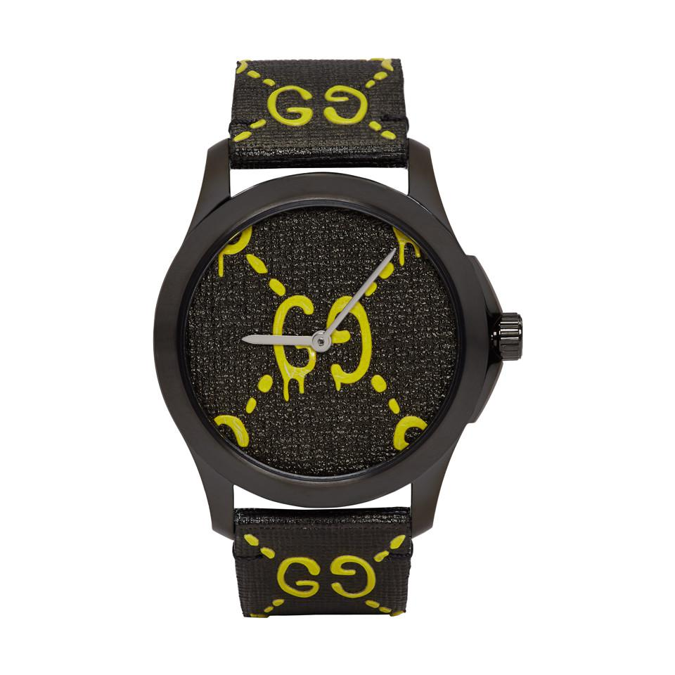 963d05a6aa5 Lyst - Gucci Black And Yellow G-timeless Ghost Watch in Black for Men