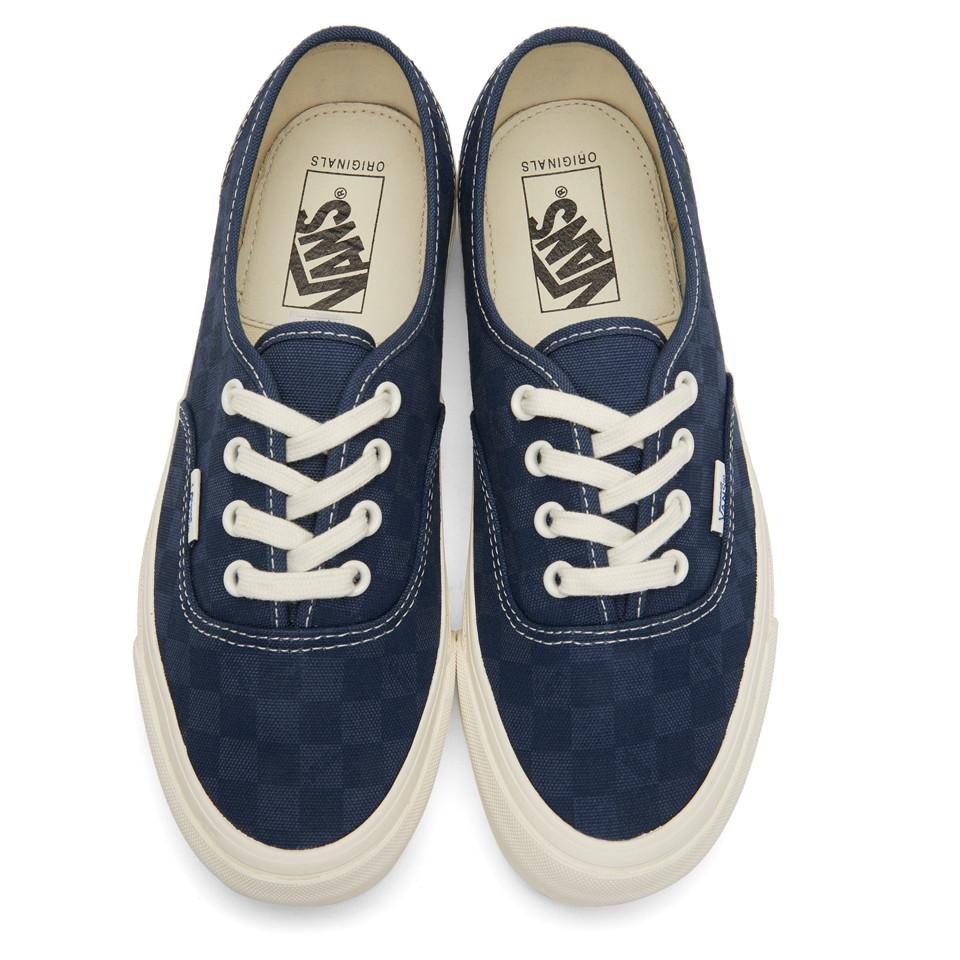 3c917da8d1 Lyst - Vans Navy Checkerboard Og Authentic Lx Sneakers in Blue for Men