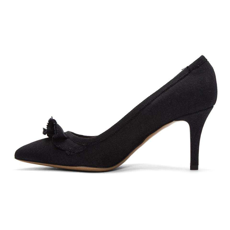 Isabel Marant Black Frilly Denim Heels
