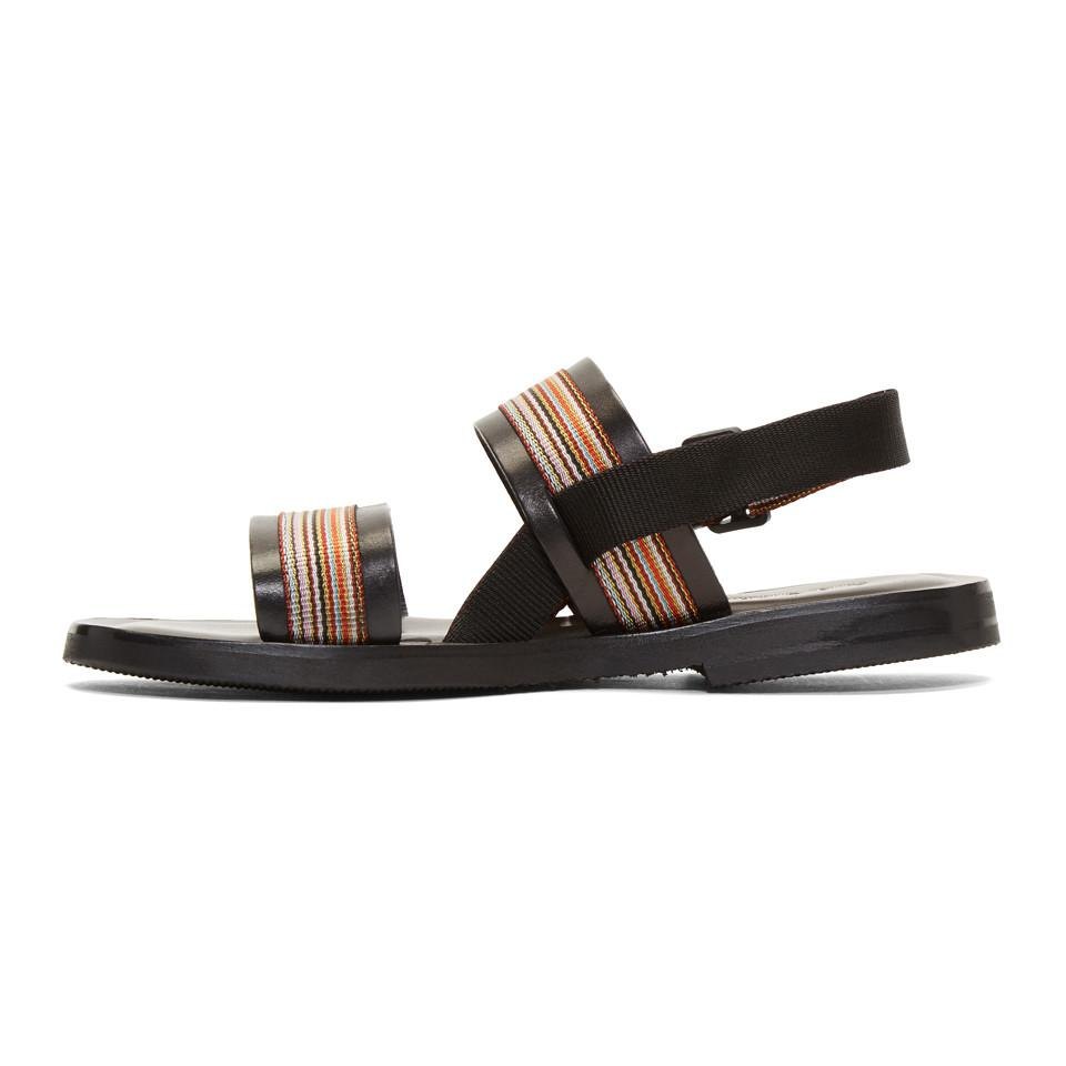 PS by Paul Smith Black Guru Multistripe Sandals 3Rqu4cqL7R