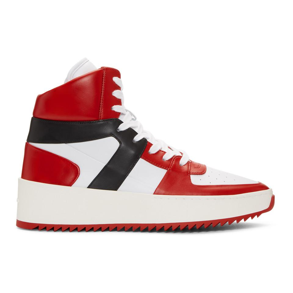 Red and Black B-Ball High-Top Sneakers Fear of God xq868x