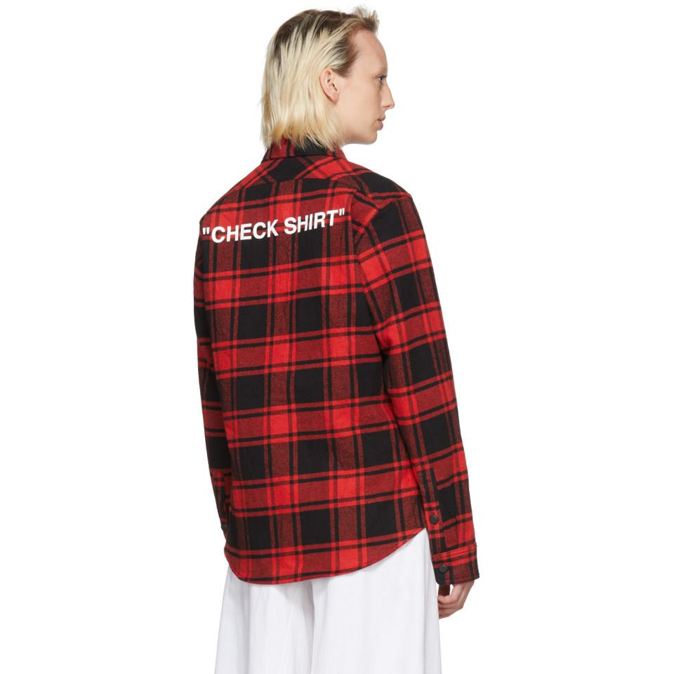 Red and Black Quote Plaid Shirt Off-white Online For Sale Reliable Cheap Price pYwgX2fz