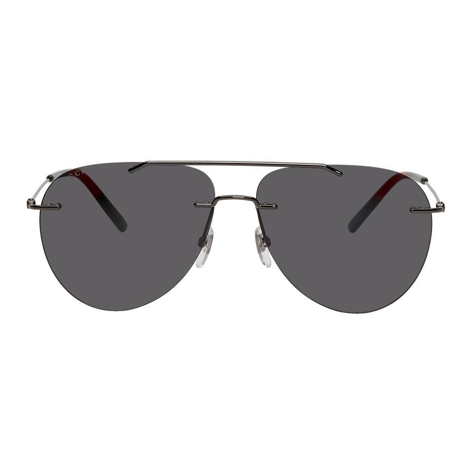 f64af892ee093 Lyst - Lunettes de soleil gris acier Masculine 80s Gucci pour homme