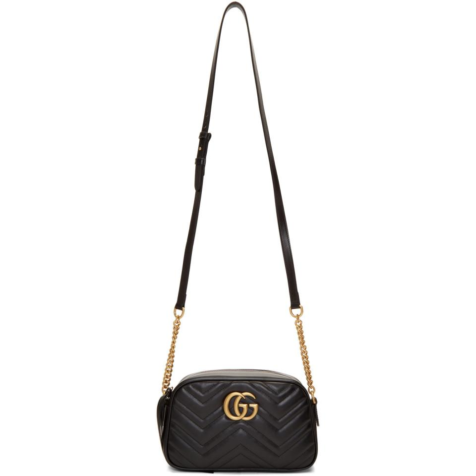 d6c5423e Gucci Black GG Marmont Camera Bag in Black - Lyst