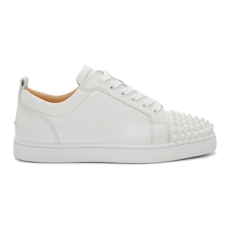 ed24810beac Lyst - Christian Louboutin White Louis Junior Spikes Sneakers in ...