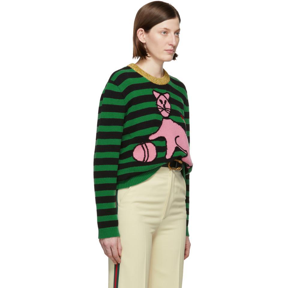 37f23a13372 Lyst - Gucci Green Stripes Cat Sweater in Green