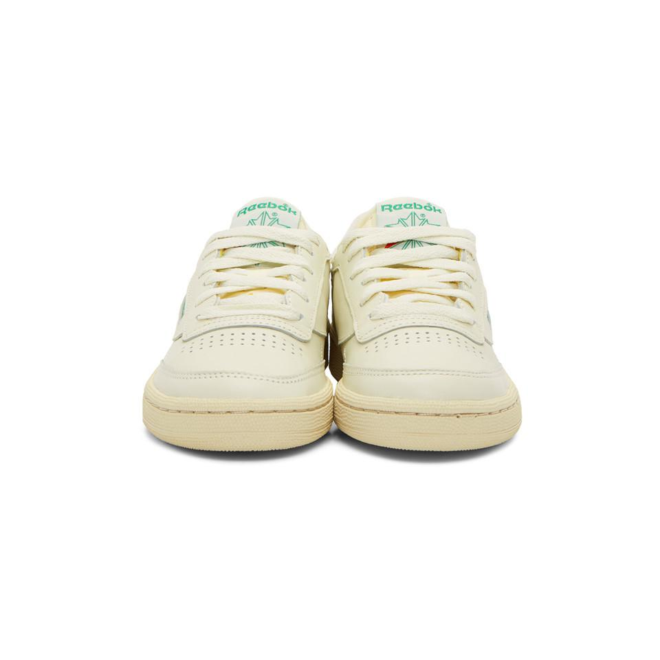 Reebok - Off-white And Green Club C 85 Vintage Sneakers - Lyst. View  fullscreen d34147bbd