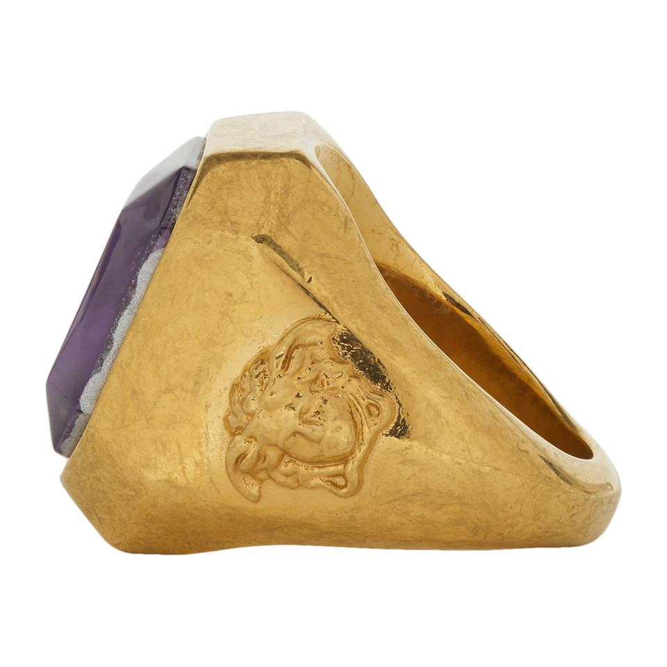 2fd150e73d Versace Gold And Purple Gem Ring in Metallic for Men - Lyst