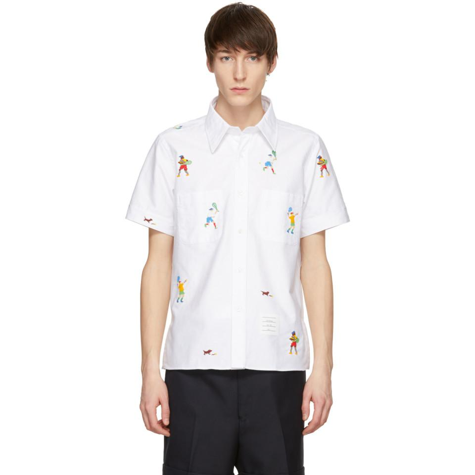 Thom Browne White Beaded Tennis Player Cuban Shirt